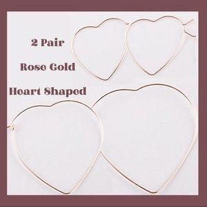 2 Sets Rose Gold Pierced Heart Earrings NWT Gift